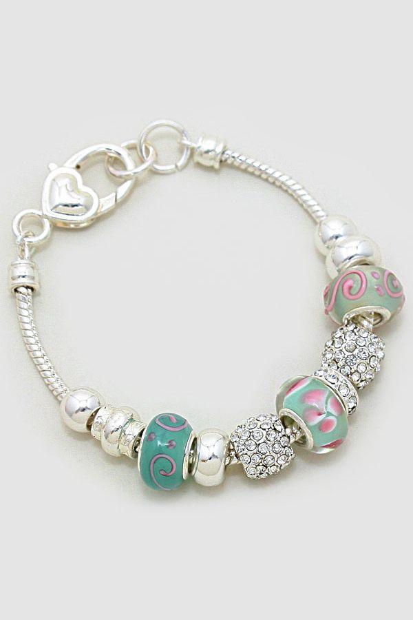 Murano Glass Ambria Bracelet in Soft Mint on Emma Stine Limited