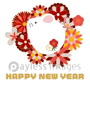 可愛い和風花柄ネズミのイラスト年賀状の写真イラスト素材