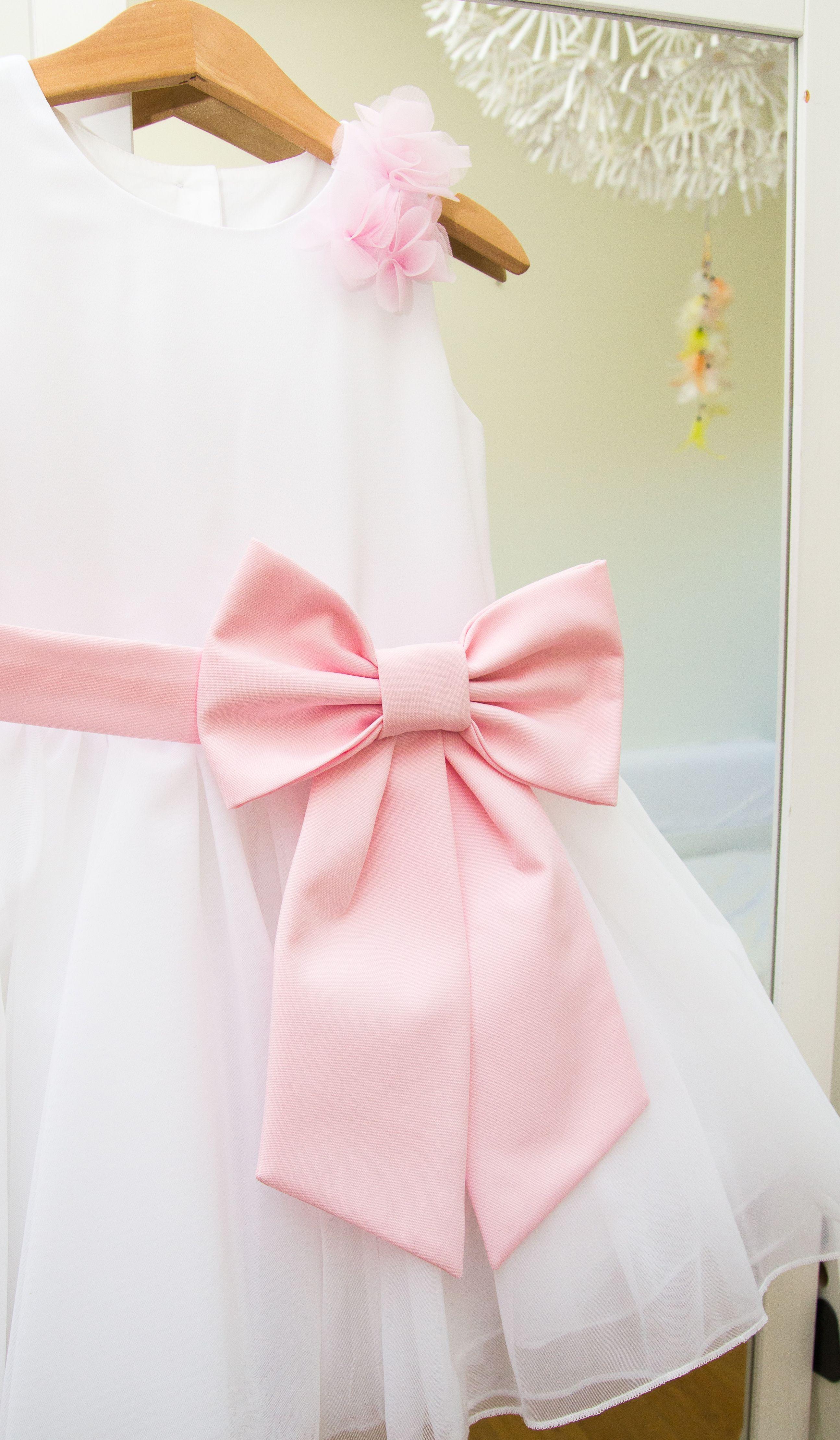 Big bow dress for girl christening dress for todlers baptism dress