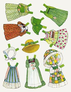 I think I recognize these dresses. The Ginghams were my favourite paper dolls when I was small. I'm so happy to discover these again.