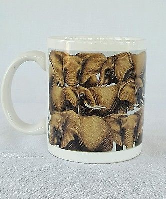 Elephant Coffee Mug Cup Banana Appeal Ceramic White Brown Animal Zoo