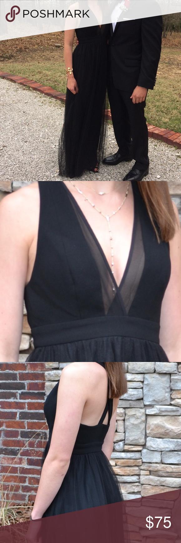BCBG Prom Dress Black floor length dress with tool bottom BCBG Dresses Maxi