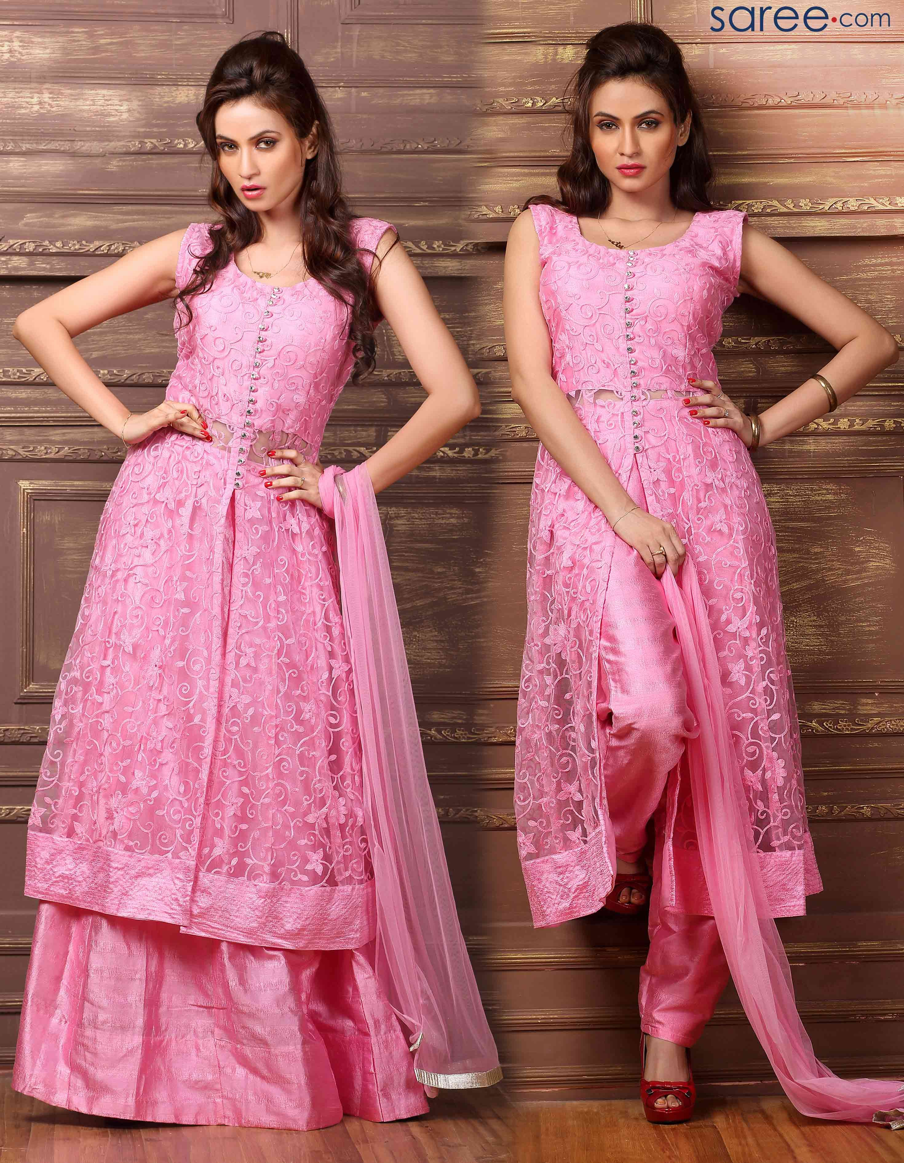 PINK NET INDO WESTERN SUIT | Sarees | Pinterest