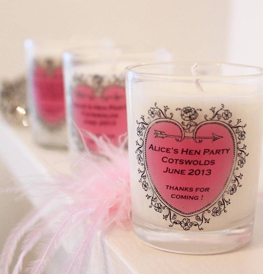 Hen Party Favour Personalised Candle By Hearth Heritage Scented Candles Notonthehighstreet