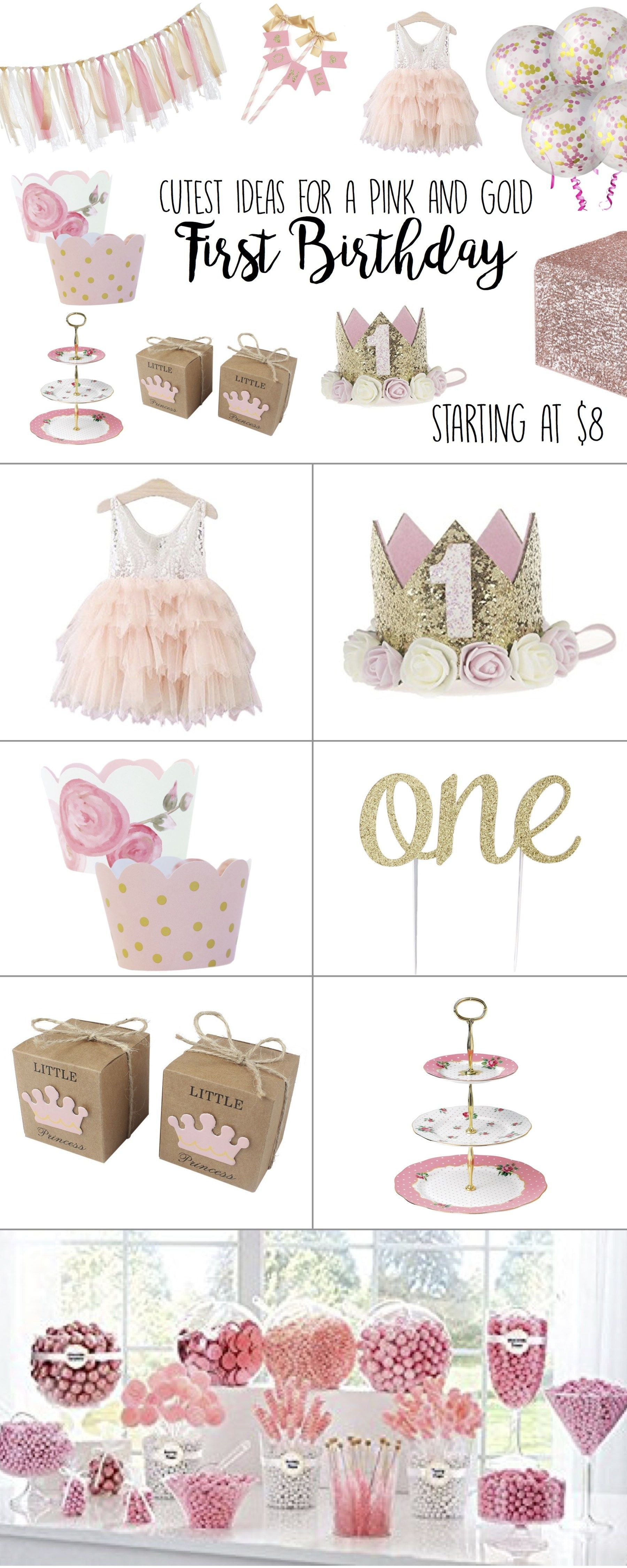 First Birthday Girl, Party Ideas, Themes, Pink and Gold, Outfit ...