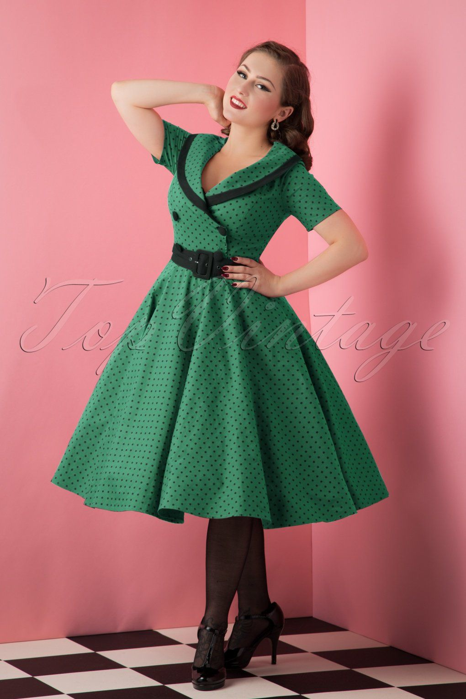 50s Mimi Polkadot Swing Dress In Green Vintage Polka Dot Dress Vintage Inspired Outfits Swing Dress [ 1530 x 1020 Pixel ]