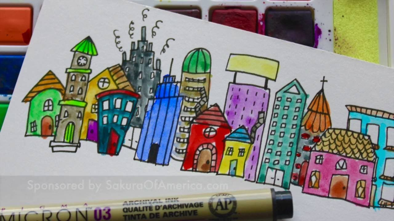 Follow Some Simple Tips To Draw Your Own Little City And Whimsical Flowers Use Pigma Micron To Draw And Add Color Wi Cityscape Drawing Doodles Doodle Drawings