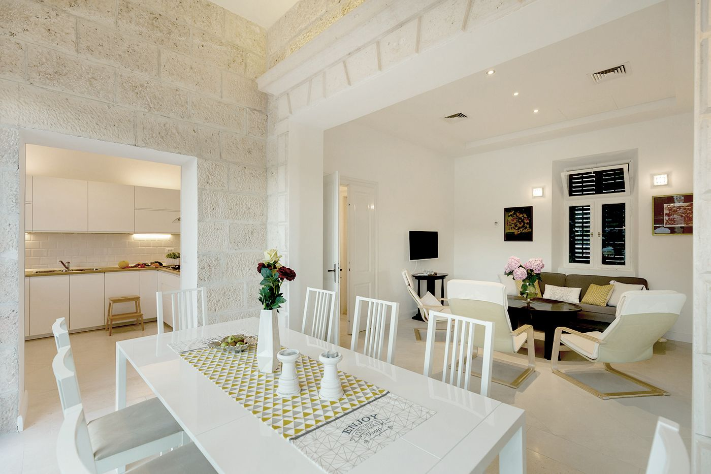 Dining table, kitchen and living room - Traditional mediterranean ...