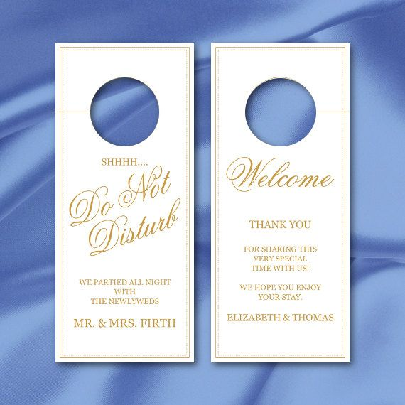 Do Not Disturb Door Hanger Sign Template Gold Calligraphy Wedding