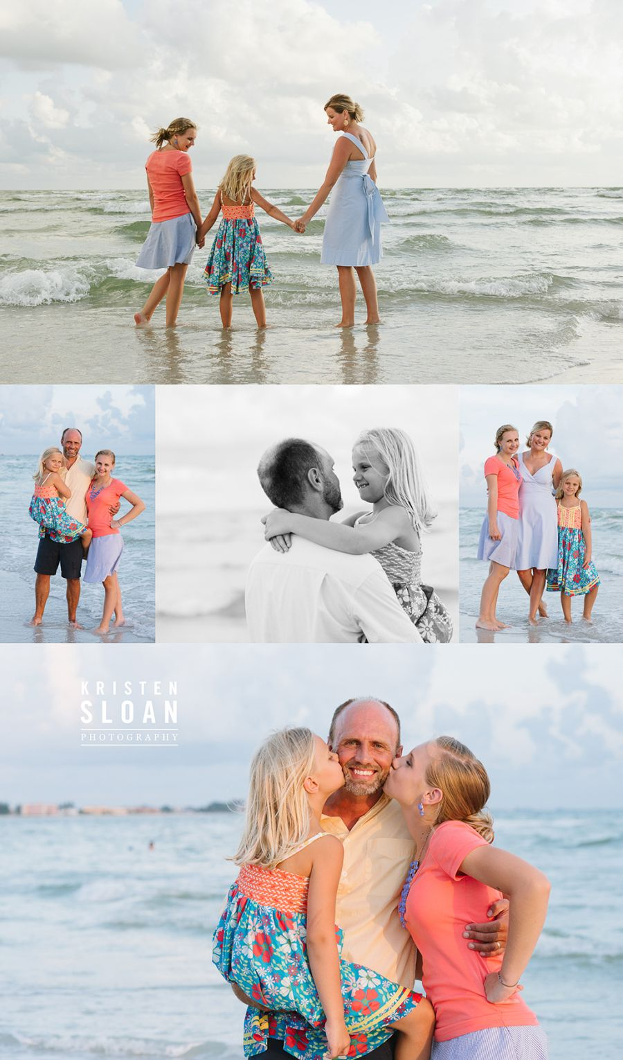 What to Wear to Your Portrait Session: Pinks and Blues | Treasure Island Florida Family Beach Sunset Photos by Kristen Sloan Photo