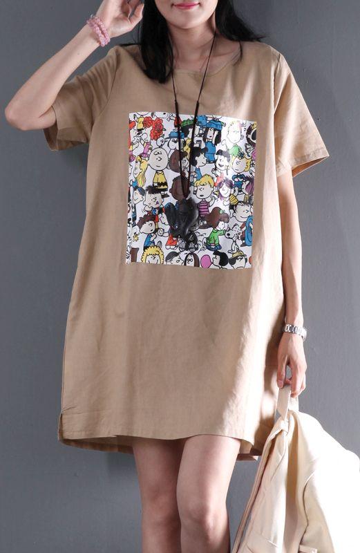 d82c9ebaf041 New cartoon print short sleeve linen dress casual clothes plus size dresses  Módne Oblečenie