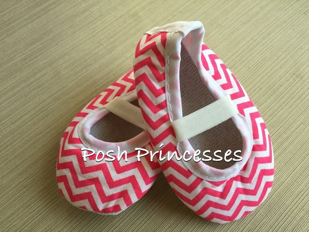"""Posh Princesses - Baby Hot Pink Chevron Shoes - Size 6-9 Months -4 1/2"""" in Clothing, Shoes & Accessories, Baby & Toddler Clothing, Baby Shoes 