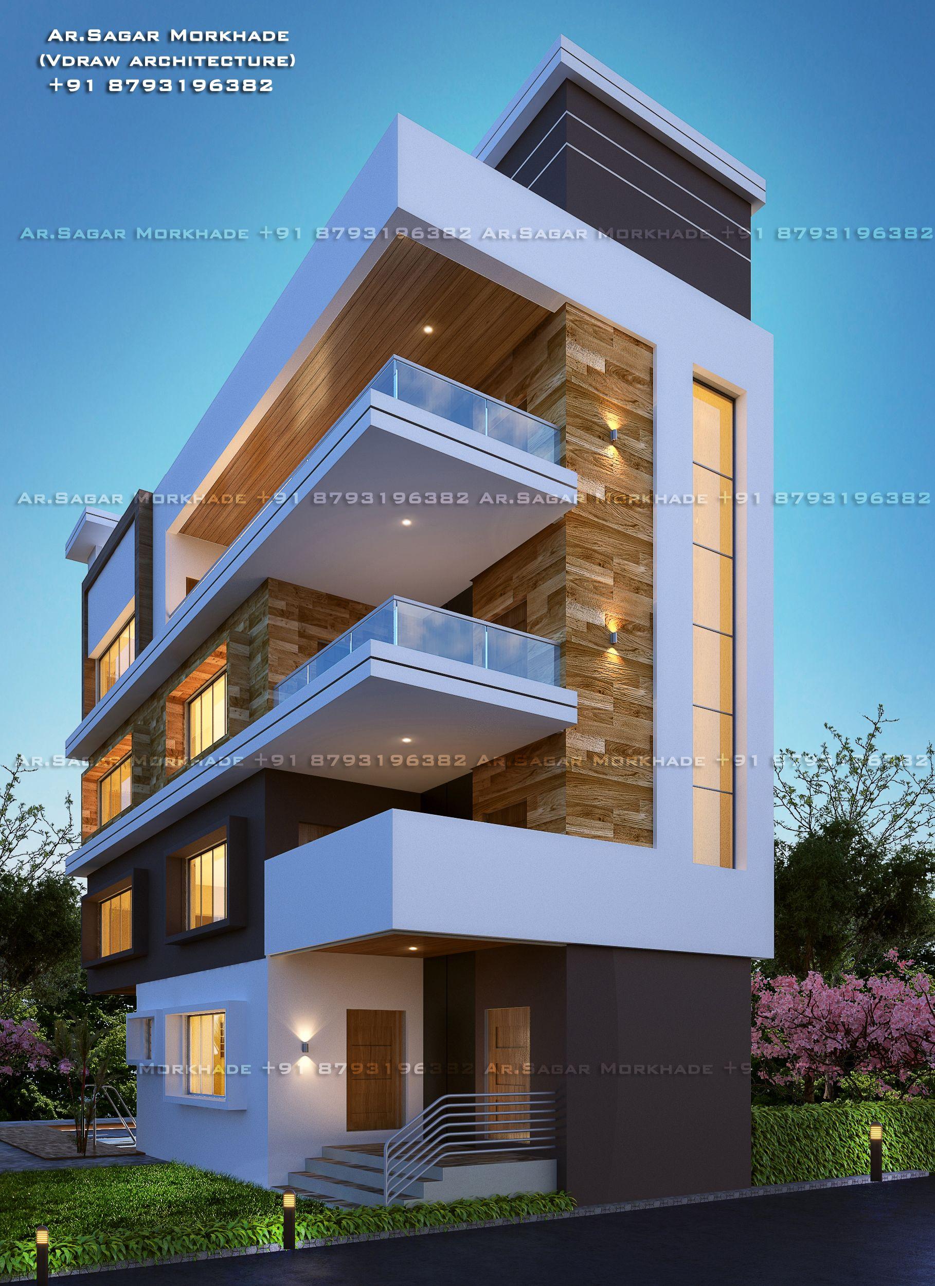 Modern House Bungalow Exterior By Ar Sagar Morkhade Vdraw Architecture 91 8793196382: #Contemporary#Modern #Residential #House #bungalow#Modern Architecture #Exterior By, Ar.Saga