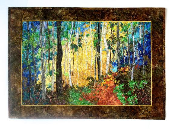 Art Quilt Birch Tree Sunrise Confetti Fiber Ar by SallyManke | Art ...
