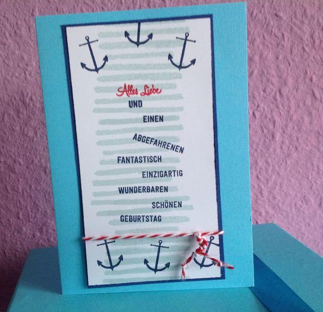 """Stempelmädels Geburtstagskarte mit vielen Wünschen """"Maritim"""