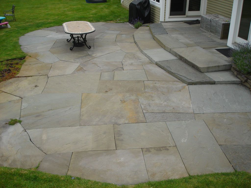 Blue Stone Patio Construction In Westchester County Ny This Irregular Full Color Dry Laid Large Slab Blue Stone Pat Patio Stones Paver Patio Diy Patio Pavers