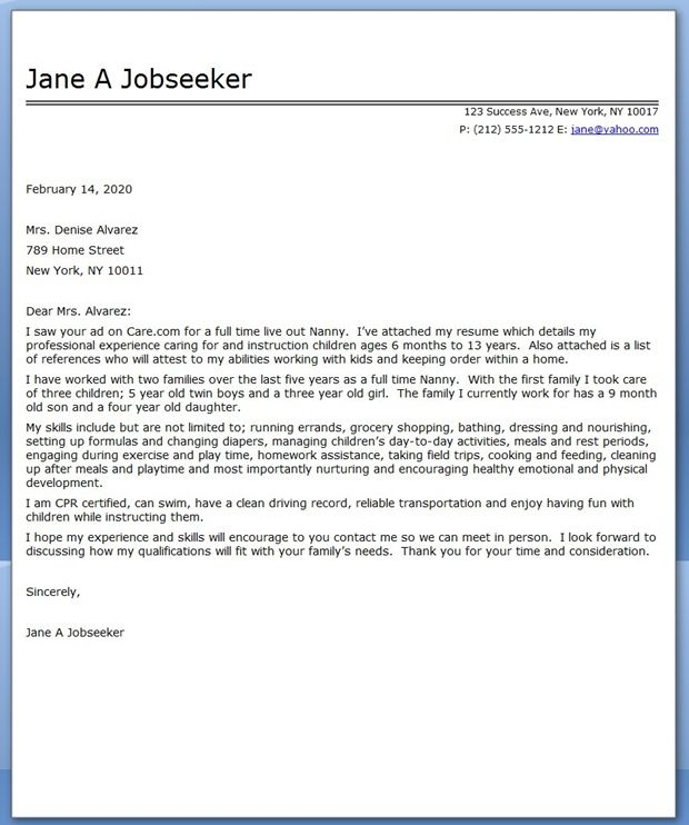 nanny cover letter sample
