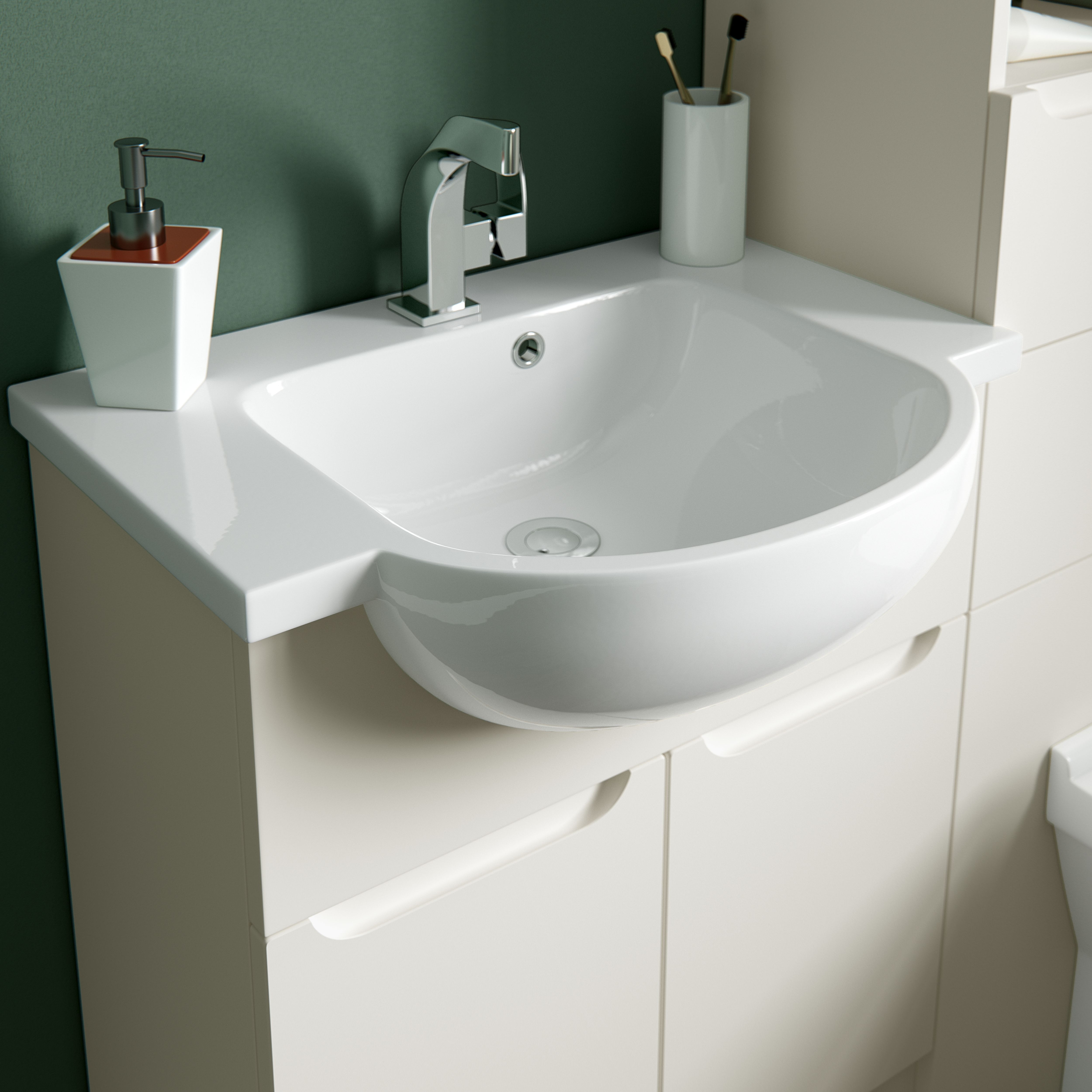 Arco semirecess round basin fitted bathrooms pinterest fitted