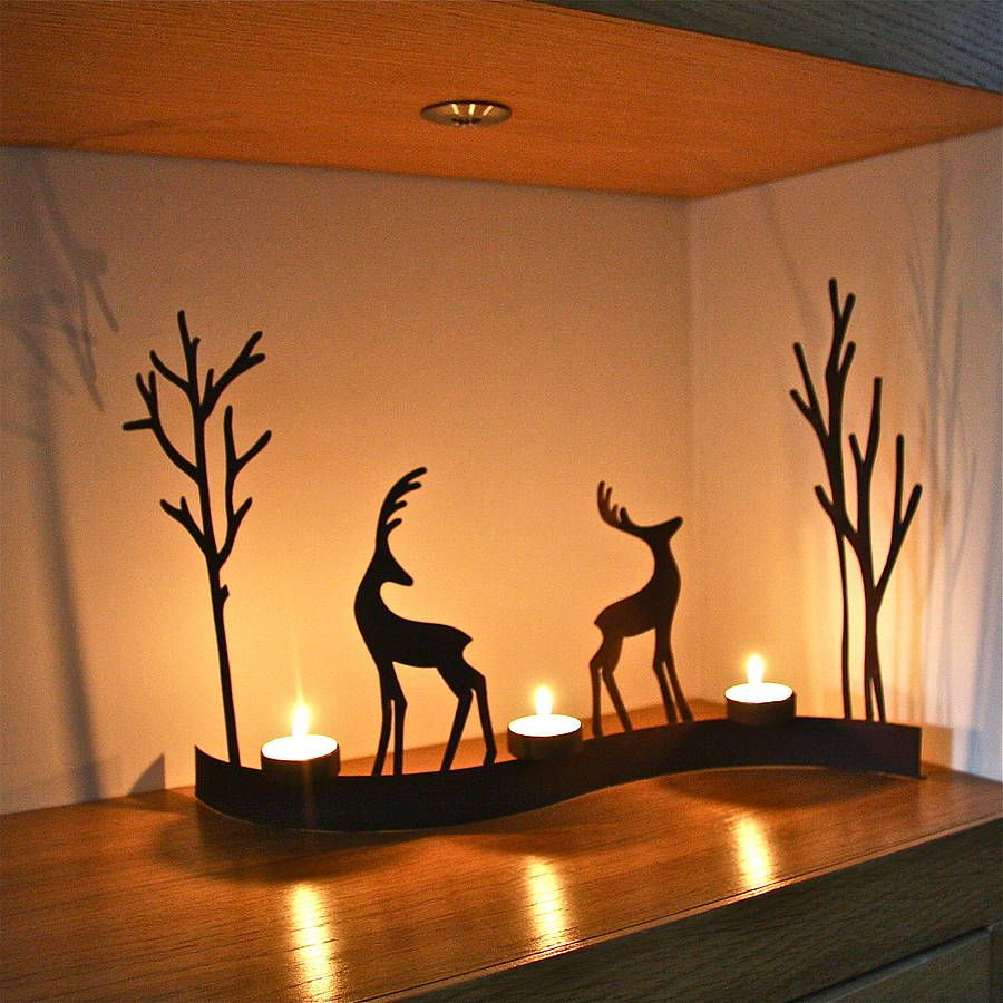reindeer images curved christmas reindeer tealight by. Black Bedroom Furniture Sets. Home Design Ideas