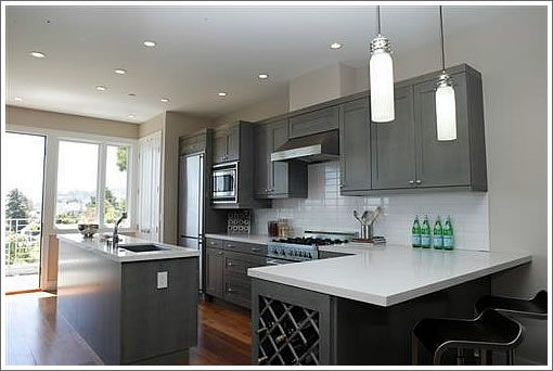Dark Grey Kitchen Cabinets Wall Colour  New Home Ideas Extraordinary Kitchens With Grey Cabinets Design Decoration
