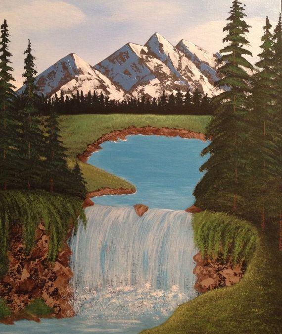 Mountain Painting Waterfall Painting 16x20 Pine Tree Painting Landscape Painting Mountains Waterfall Landscape Paintings Pine Tree Painting Mountain Paintings