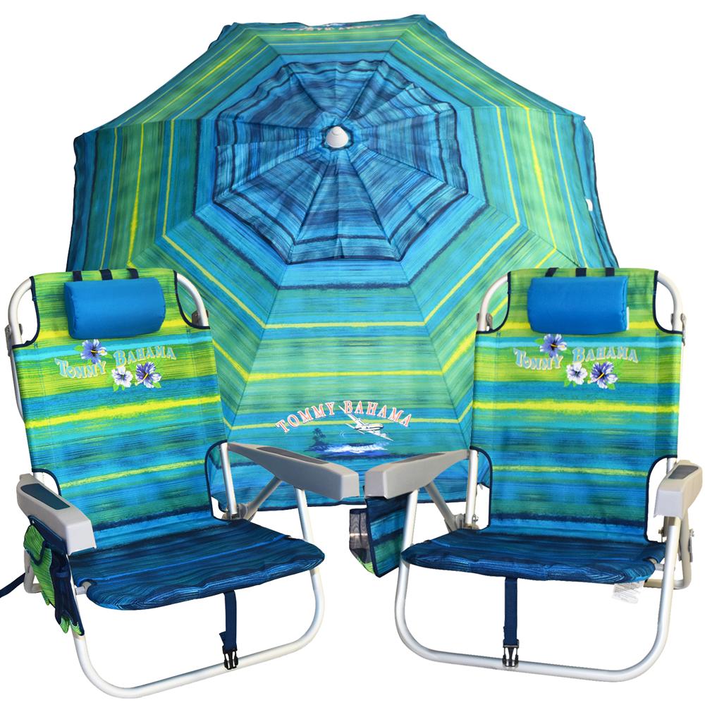 Tommy Bahama Package 2 Beach Chairs Amp 1 Beach Umbrella