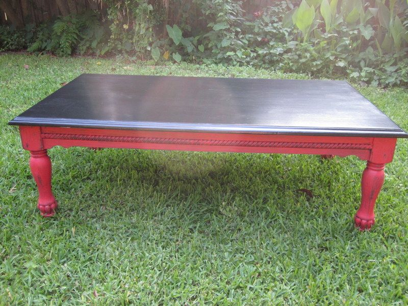 Black Red Coffee Table Updated With Chalk Paint Red Coffee Tables Coffee Table Vintage Furniture