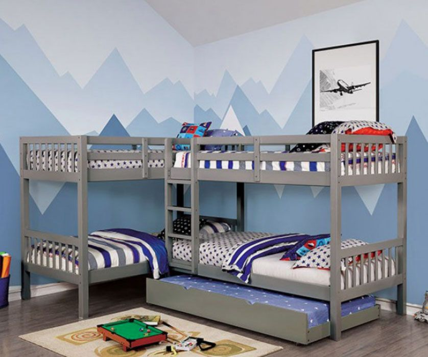L Shaped Quadruple Wood Twin Bunk Bed In Dark Walnut In 2020