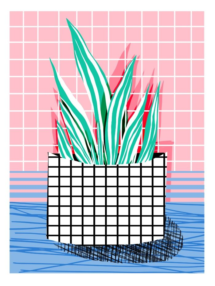 Glam pop art memphis neon house plants throwback retro for Minimal art neon