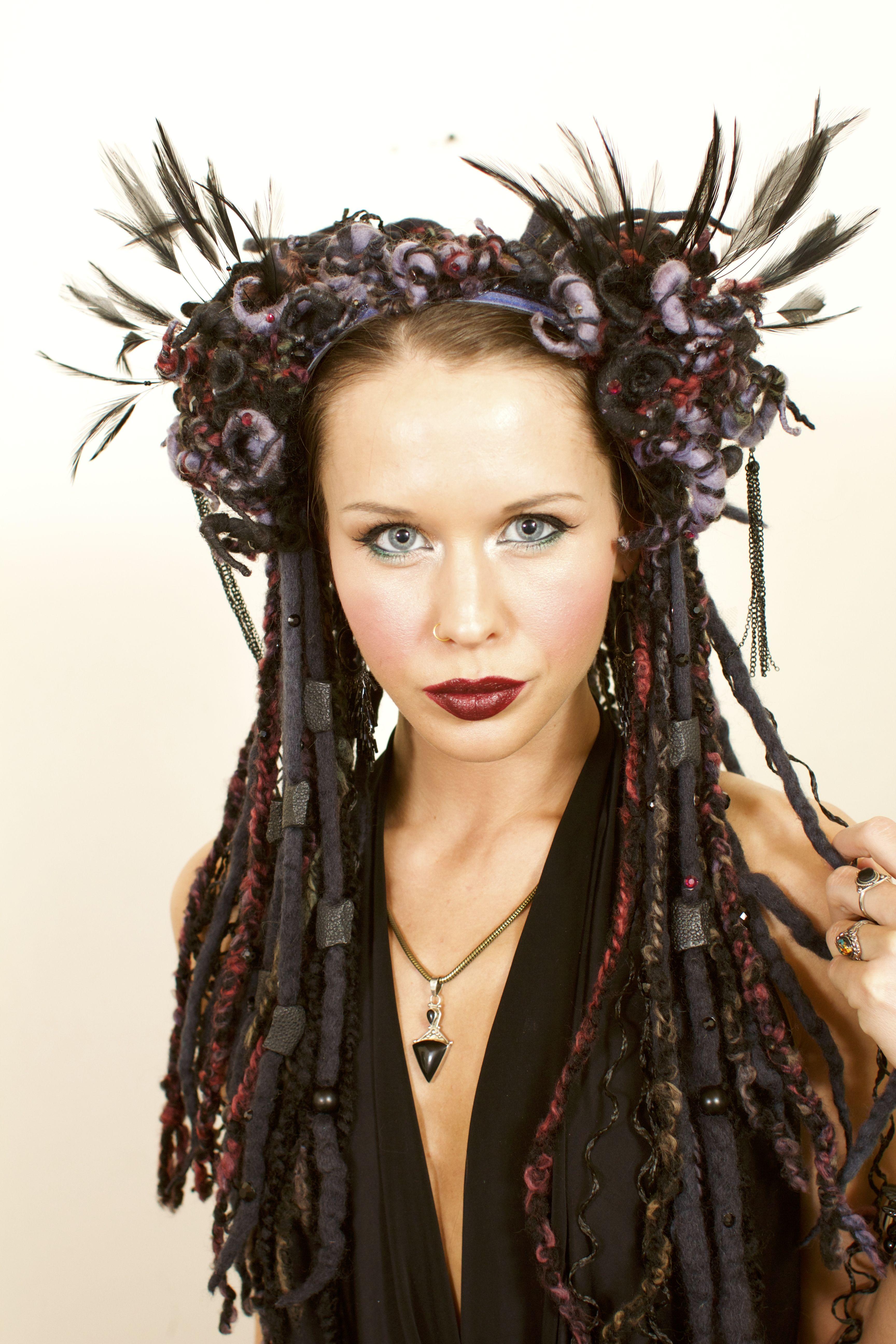 Black Feather Headdress and Dread Falls | Headdress, Festival wear ...