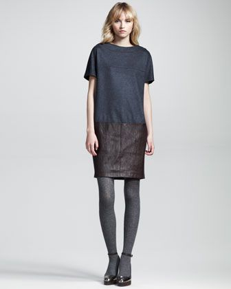 Paneled Felt-Leather Shift Dress by Brunello Cucinelli at Neiman Marcus.