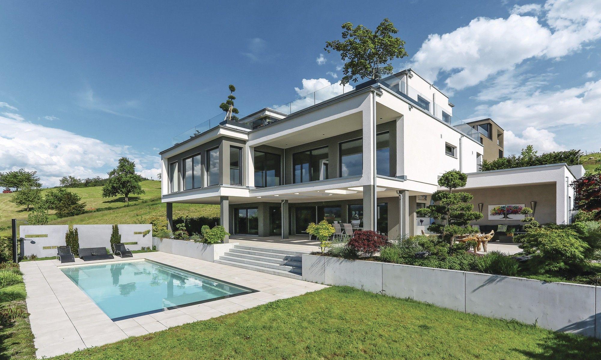 fertighaus weberhaus holzbauweise villa pool lakelucerne schweiz haus pool houses