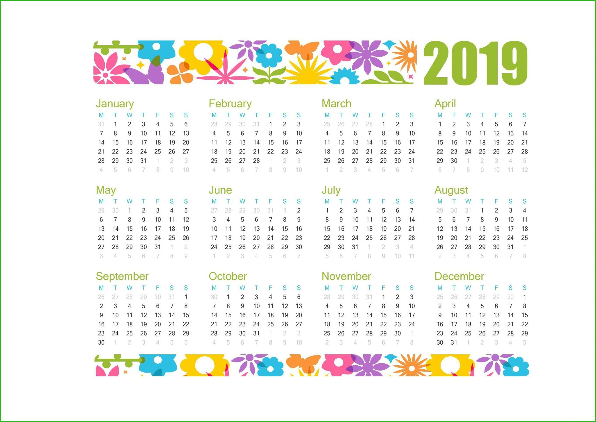 Printable Calendar 2019 Cute Printable Calendar Template