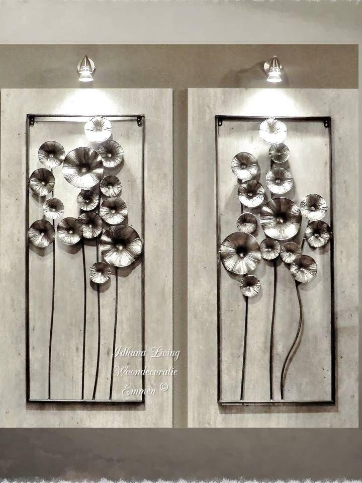 Wanddecoratie modern metaal Bloemen, antracietkleur 2-delig ...