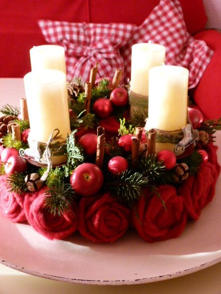 Adventskranz rosen von chrisue haus und hofdekorationen auf advent pinterest - Pinterest adventskranz ...