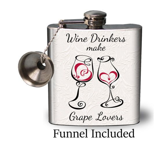 Hip Flask with Free funnel  Wine drinkers make grape by FlaskMart