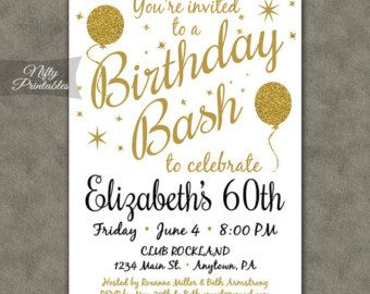 Wood Th Birthday Invitations Printable Sixtieth Birthday Invites - Invitations for 60th birthday party templates