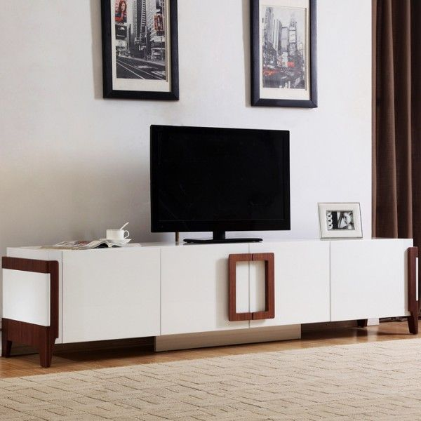 Modern Furniture Melbourne jansen white lowline entertainment tv unit with walnut handles and