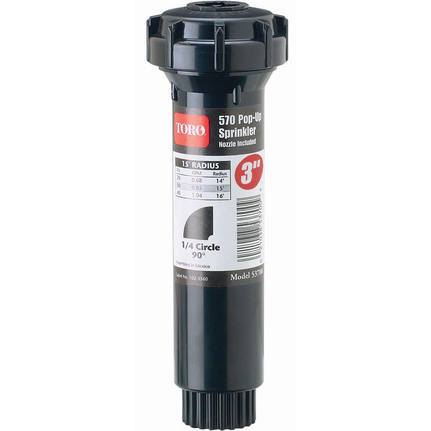 Toro 53815 3-inch 90° 570Z Pro Series Pop-Up Fixed Spray With Nozzle (Stationary Sprinklers), Black (Plastic)