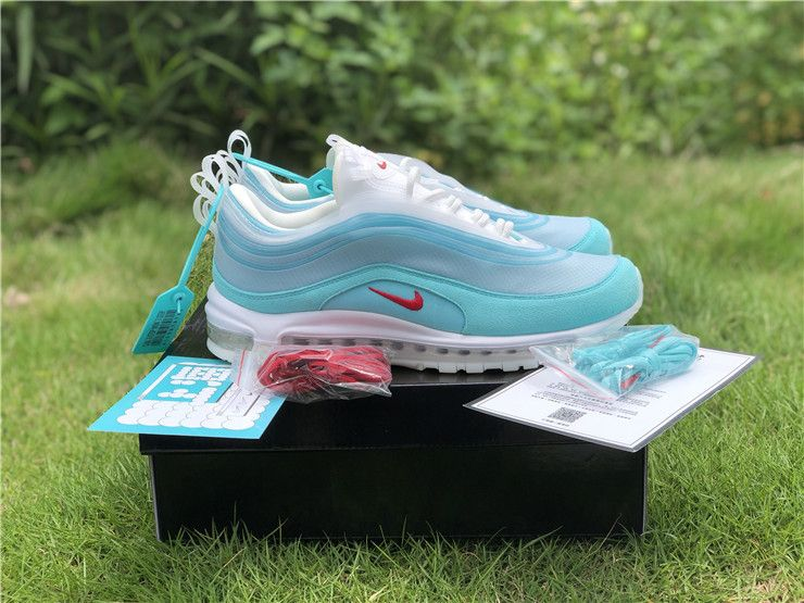 Popular Nike Air Max 97 Shanghai Kaleidoscope Ice Blue Red White