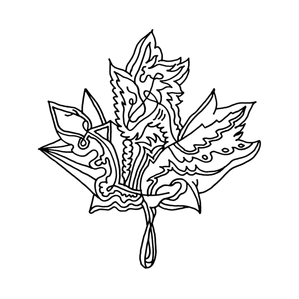 Inner Maple Leaf Colouring Page with Abstract Drawing in Mind Form ...