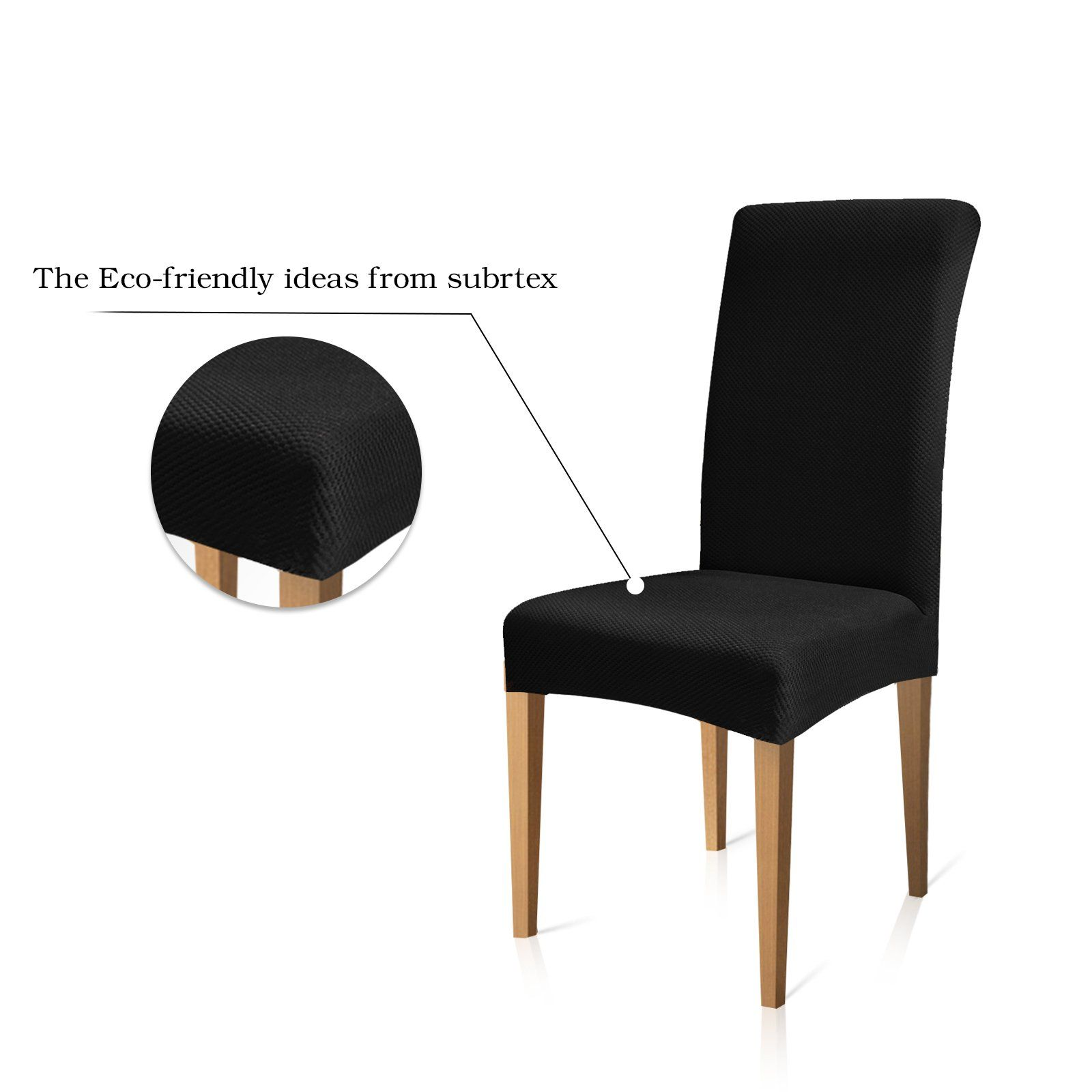 Subrtex Knit Stretch Dining Room Chair Slipcovers 4 Black