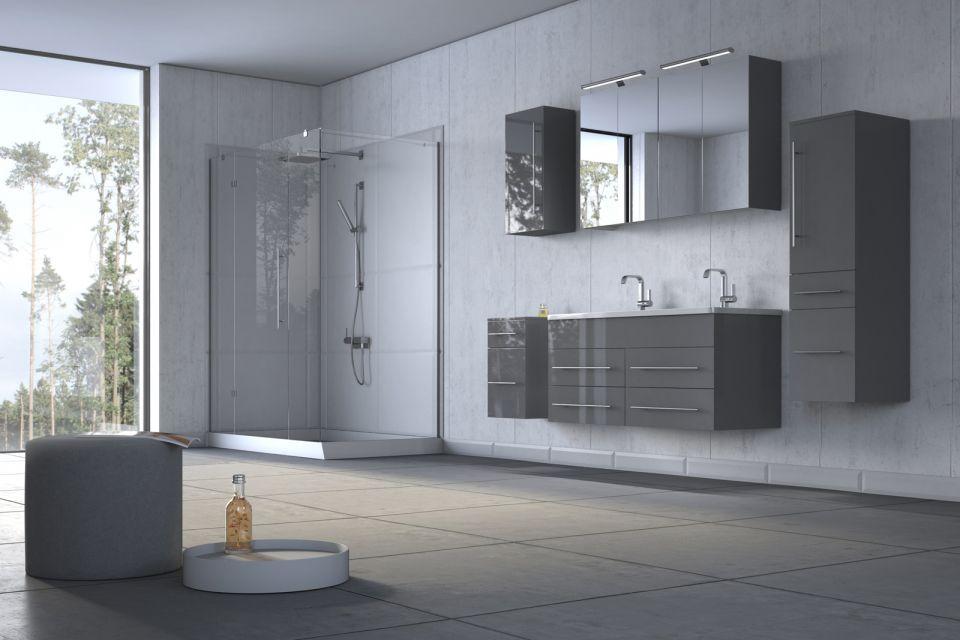 Badezimmermöbel grau ~ Badmöbel set 5tlg. duarte 120 cm doppelwaschplatz hochglanz grau