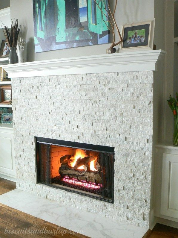 diy party white stacked stone fireplace