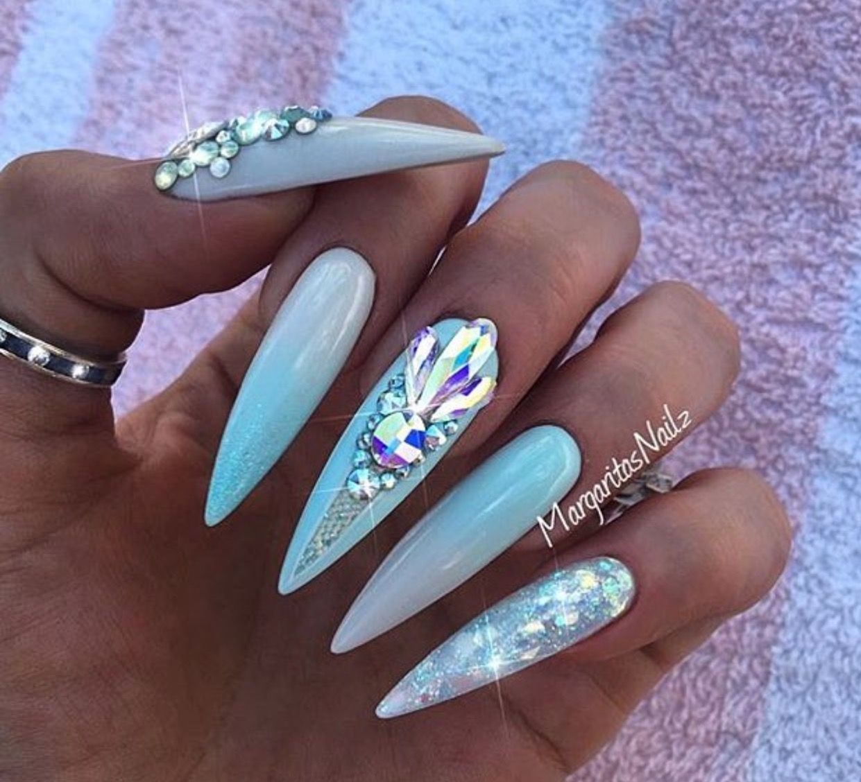 Long pastel mermaid stiletto nails | Nails | Pinterest | Hair makeup ...