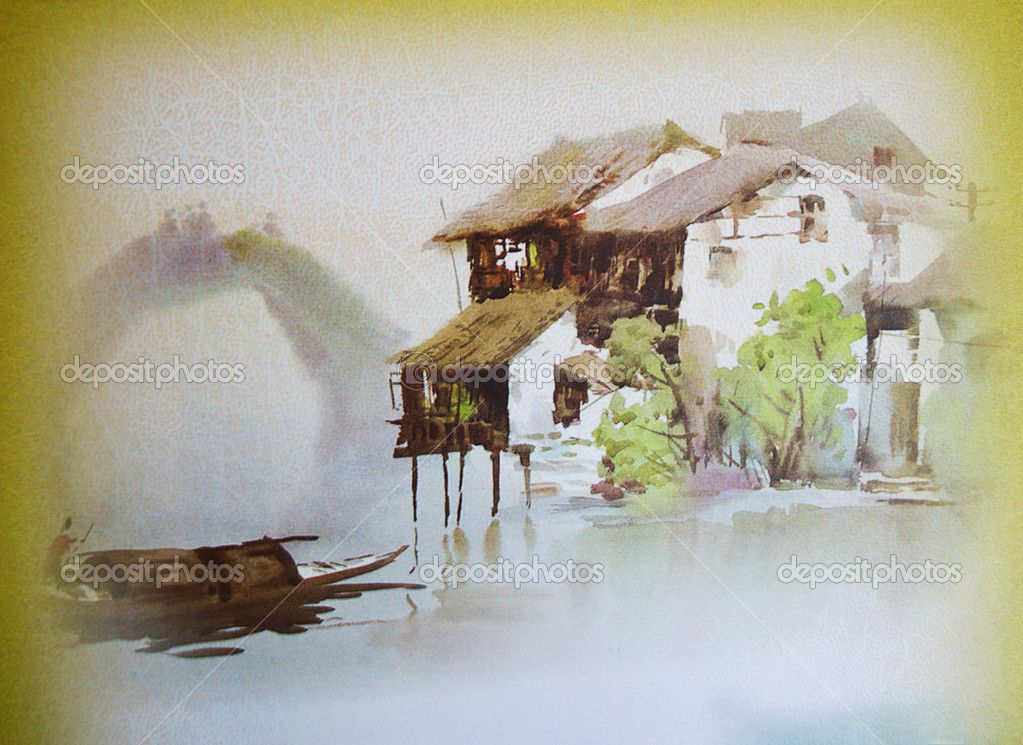 Old Japanese Watercolor Painting Stock Editorial Photo