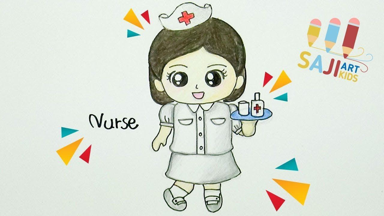 ว ธ วาดพยาบาล วาดร ประบายส ไม สวยๆ How To Draw A Nurse Step By Step