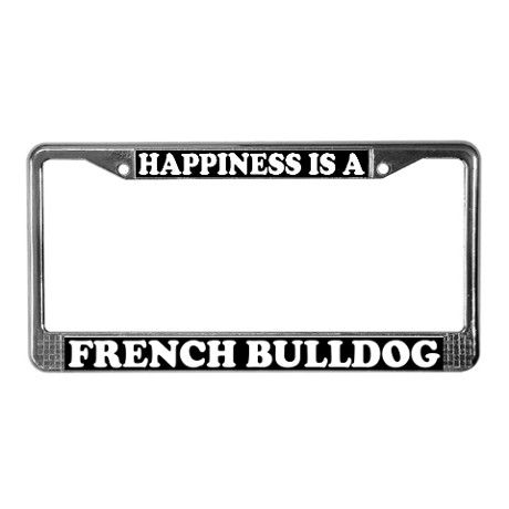 I Love My Bulldog Chrome Metal License Plate Frame