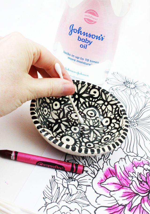 use baby oil with crayons to smooth and blend pigment alisa burke