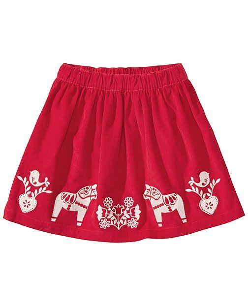 For Dessa.  Santa Lucia Embroidered Skirt from #HannaAndersson.